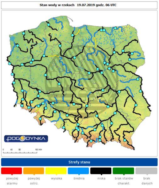 Stan rzek w Polsce 19.07.19 o godzinie 06.30 (monitor.pogodynka.pl/IMGW)