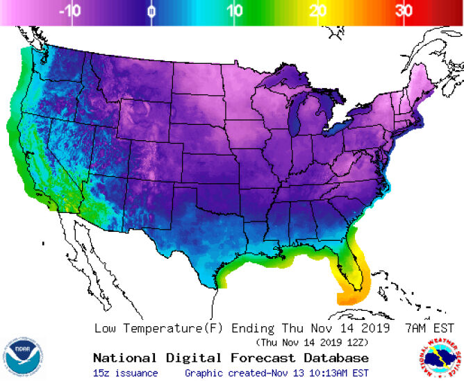 Minimalna temperatura prognozowana na najbliższą noc (National Weather Service)