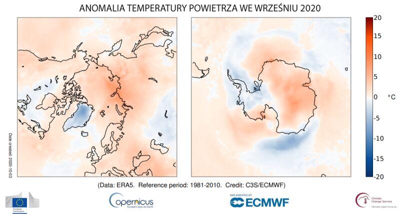 Anomalia temperatury powietrza we wrześniu 2020 (Copernicus Climate Change Service/ECMWF)