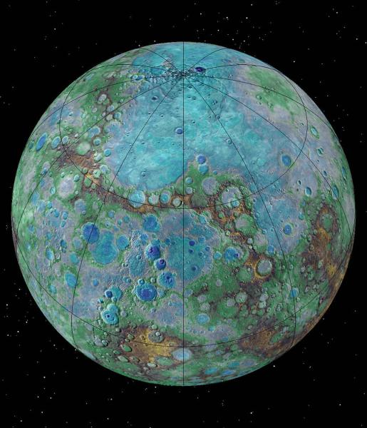 Zdjęcie Merkurego pozyskane z misji  Messenger (NASA/JHUAPL/Carnegie Institution of Washington/USGS/Arizona State University)
