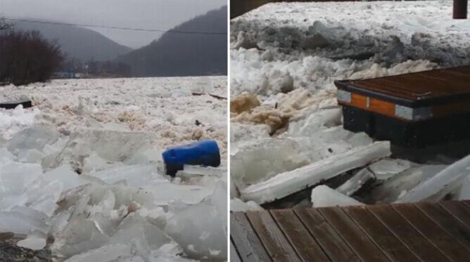 Zatory lodowe w Wirginii niszczą doki. Mieszkańcy szacują straty