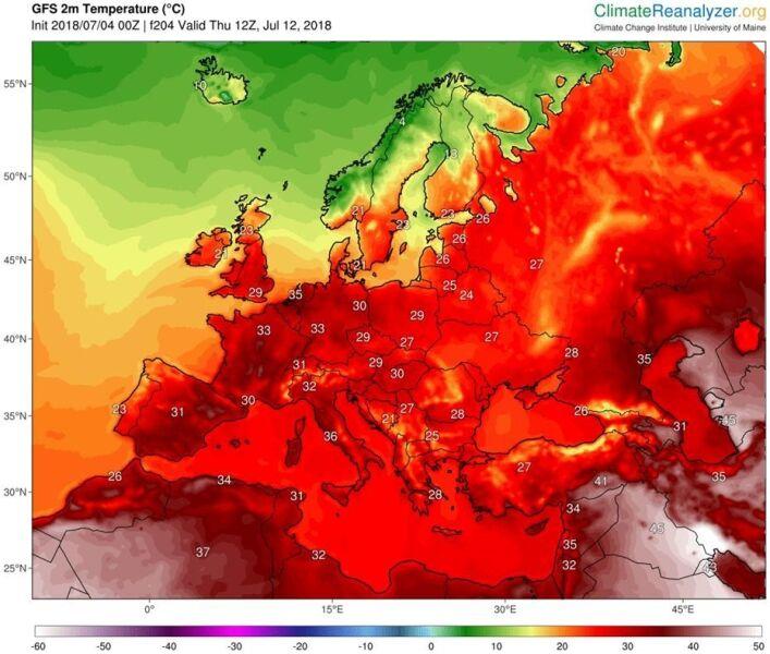 Temperatura w Europie w czwartek 12 lipca (model GFS/ University of Maine)